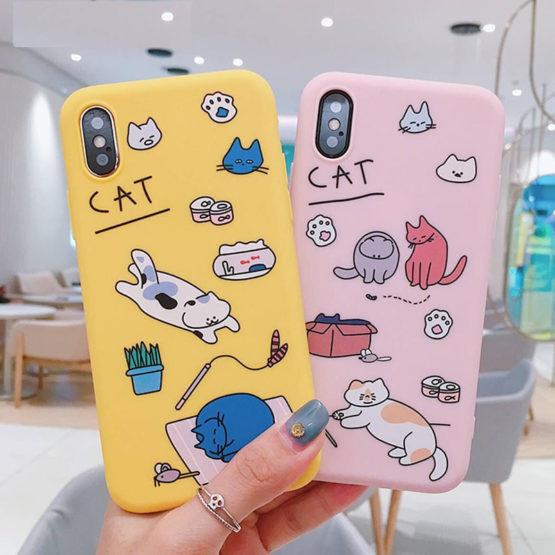 Cute Cartoon Cat Phone case for iPhone