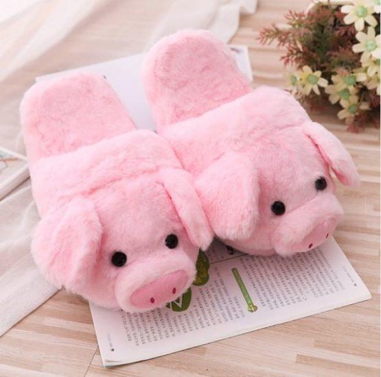 Kawaii Pink Piglet Fluffy Slippers