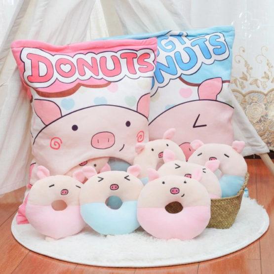 A Bag of Kawaii Donut Piggy Plushies