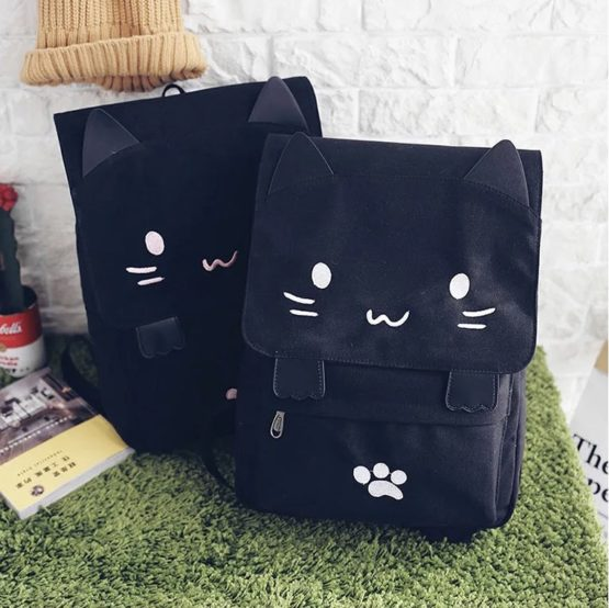 Kawaii Cat Canvas Backpack – Special Edition