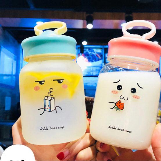 Kawaii Face Transparent Glass Bottle (380ml)
