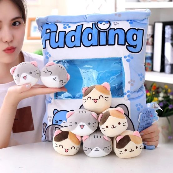 A Bag of Kawaii Neko Cat Pudding Dolls