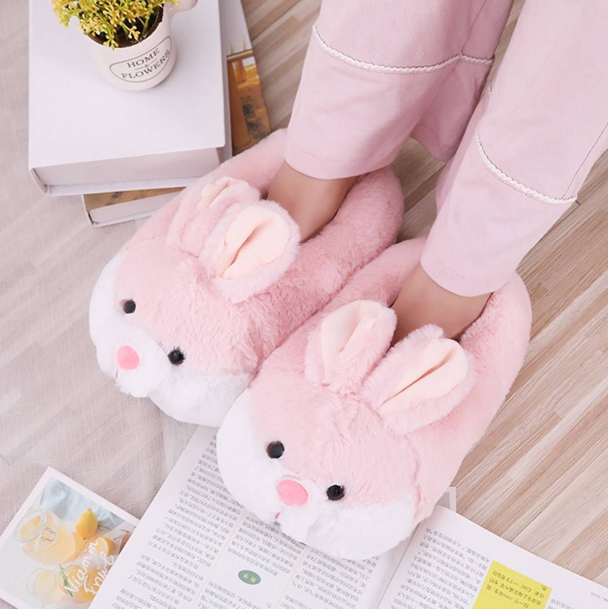 Kawaii Pink Bunny Ears Slippers