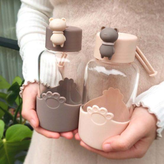 Kawaii Animal Bear Glass Bottle (340ml)
