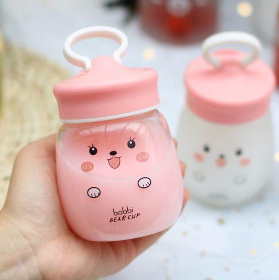 Kawaii Bear Cup Glass Water Bottle (350ml)