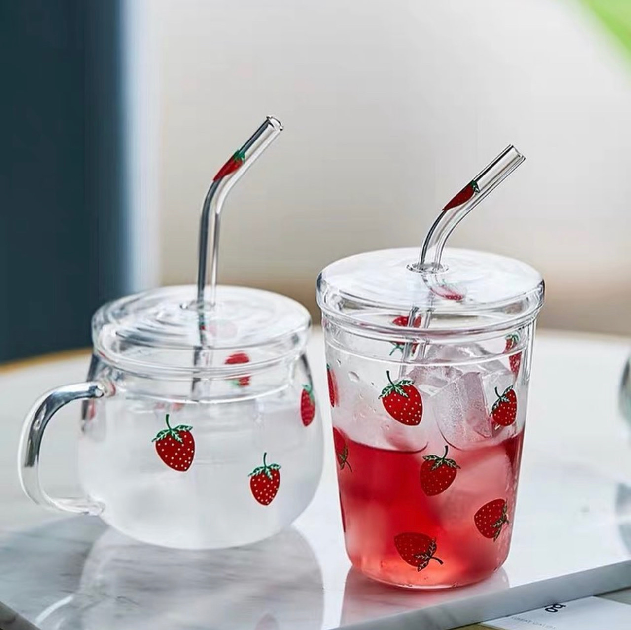 Kawaii Strawberry Glass Cup