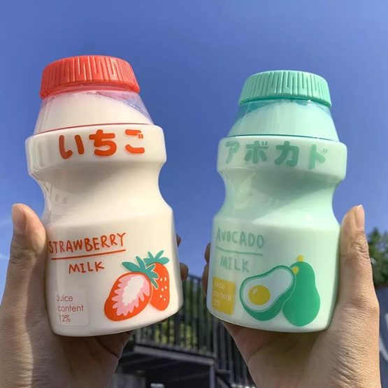 Kawaii Milk Fruit Plastic Bottle (480ml)
