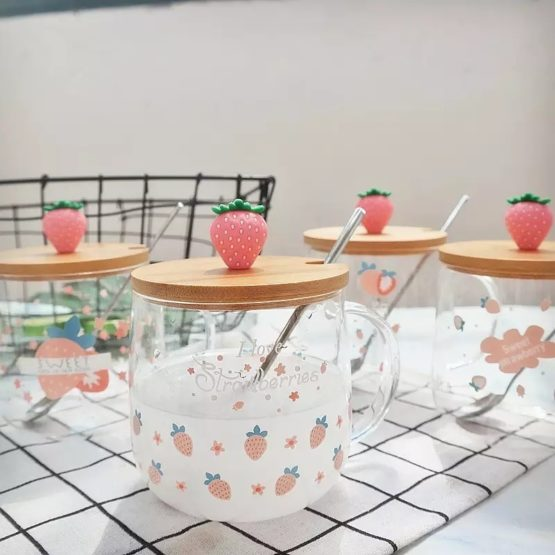 Kawaii Strawberry Glass Cup – Limited Edition