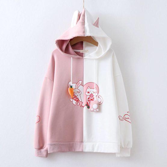 Kawaii Bunny Cat Ears Harajuku Hoodie – Limited Edition