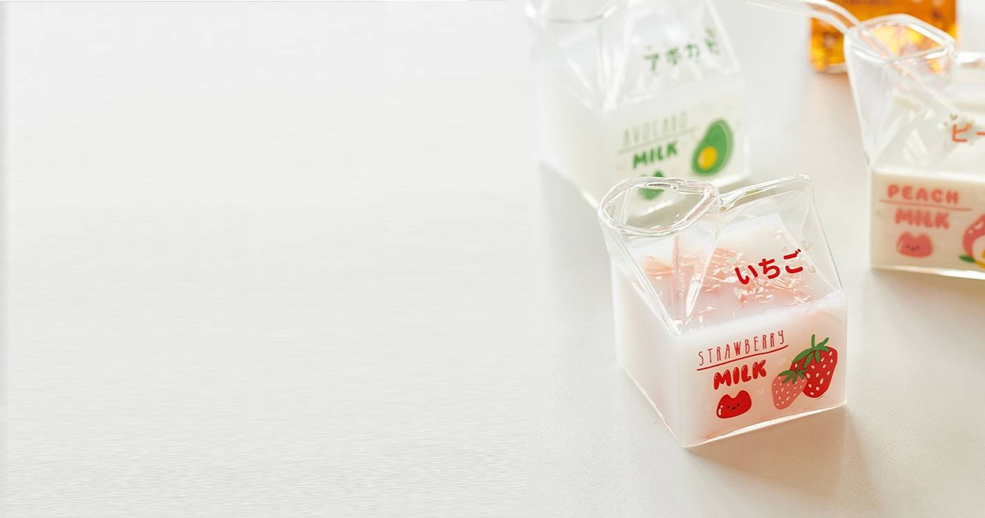 Strawberry Milk Glass Cup