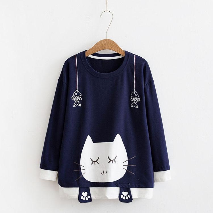 Kawaii Cat Fish Paw Harajuku Sweater