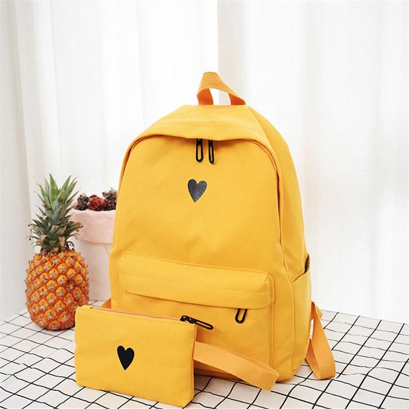Kawaii Heart Canvas Backpack