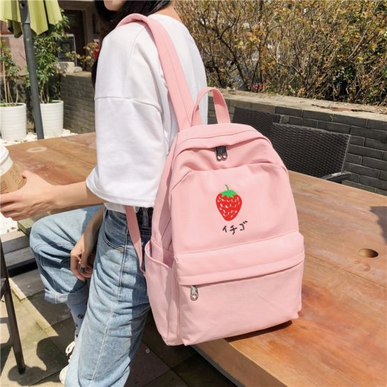 Kawaii Embroidery Canvas Backpack – Limited Edition