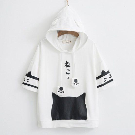 Japanese Neko Cat Short Sleeve Hoodie