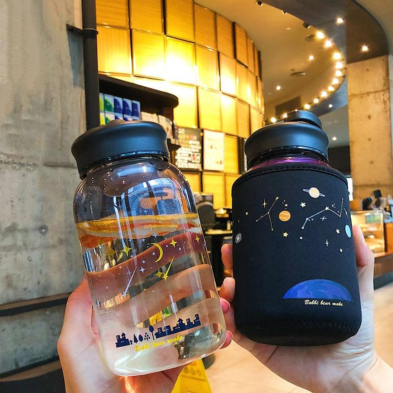 Kawaii Galaxy Stars Glass Bottle (600ml)