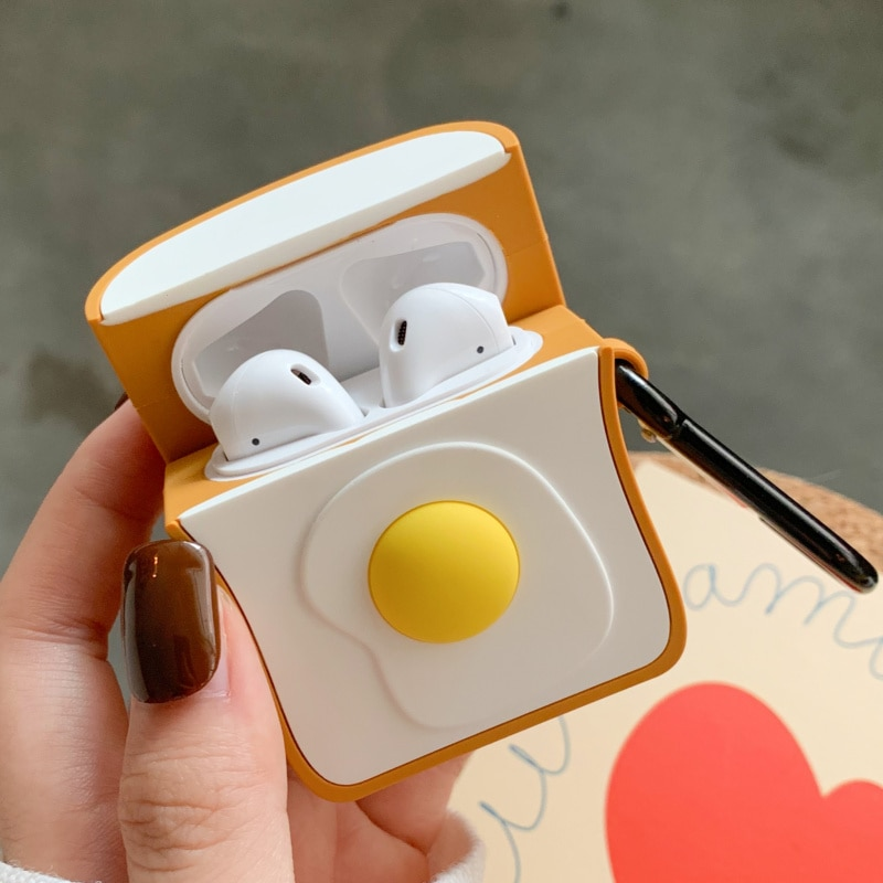 Kawaii Egg Toast Earphone Protective Case