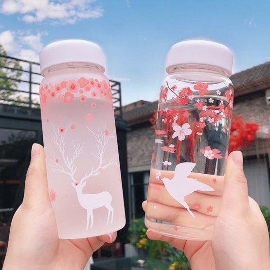 Kawaii Cherry Blossom Glass Bottle (400ml)