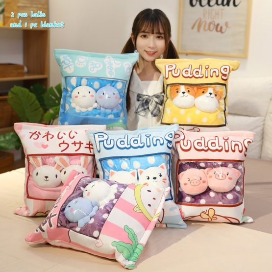 A Bag of Kawaii Candy Pudding Plush with Blanket