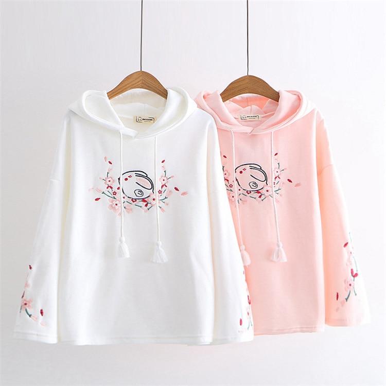 Kawaii Cherry Blossom Bunny Hoodie – Limited Edition