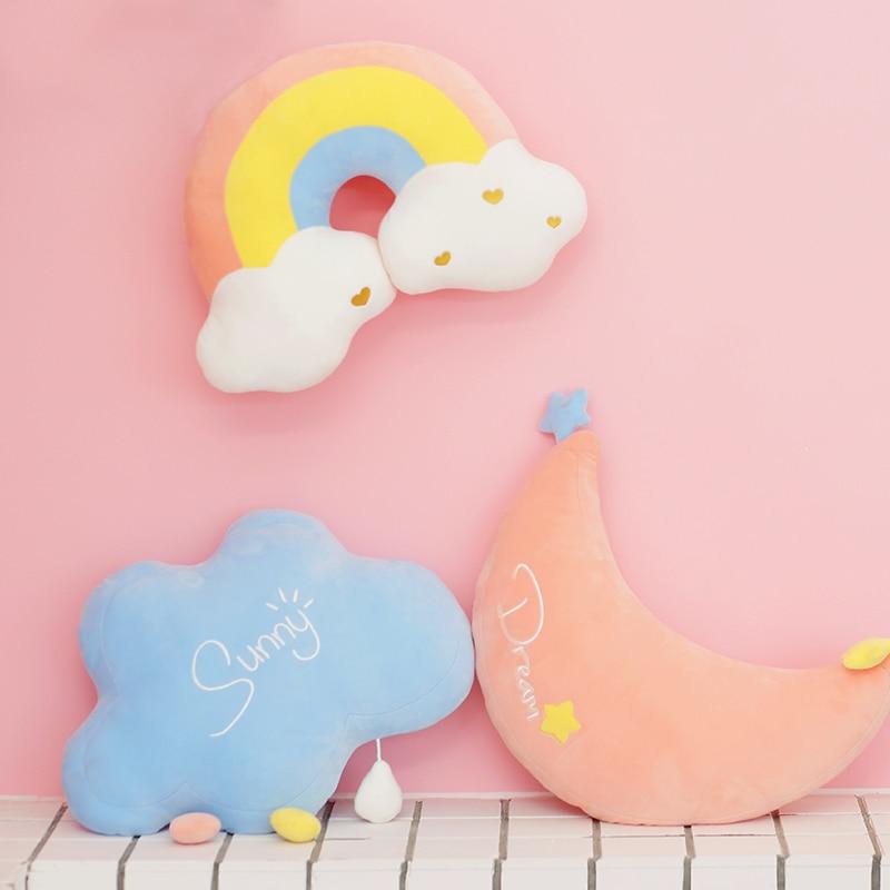 Kawaii Rainbow Cloud Moon Pillow – Limited Edition