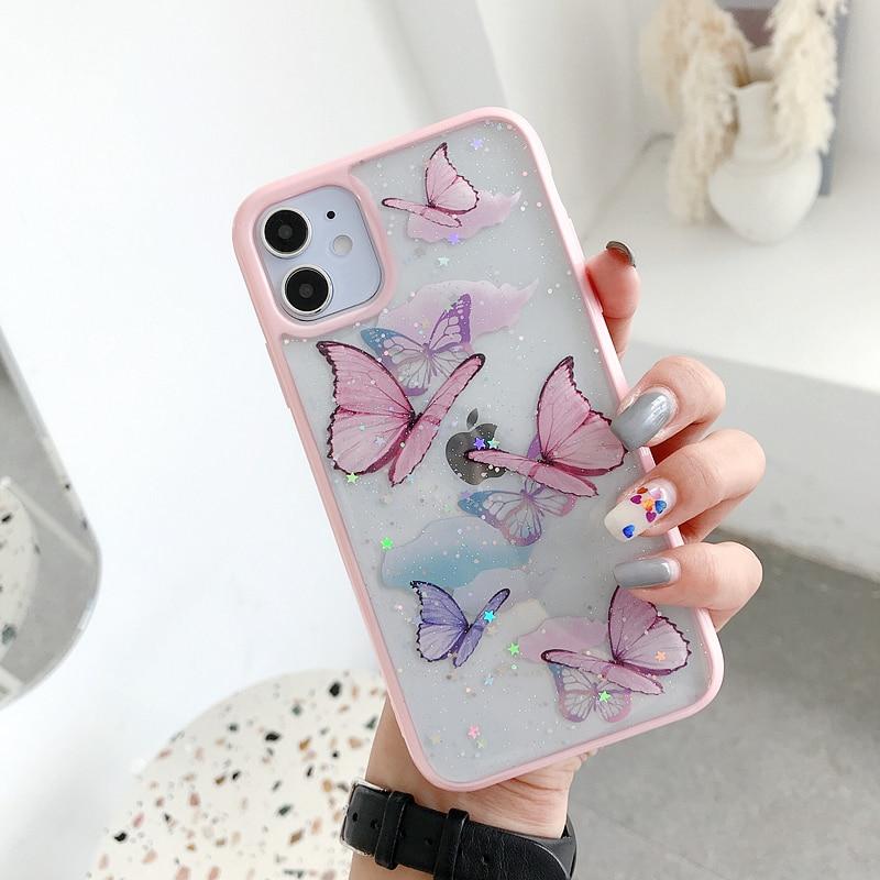 Kawaii Butterfly Glitter Phone Case