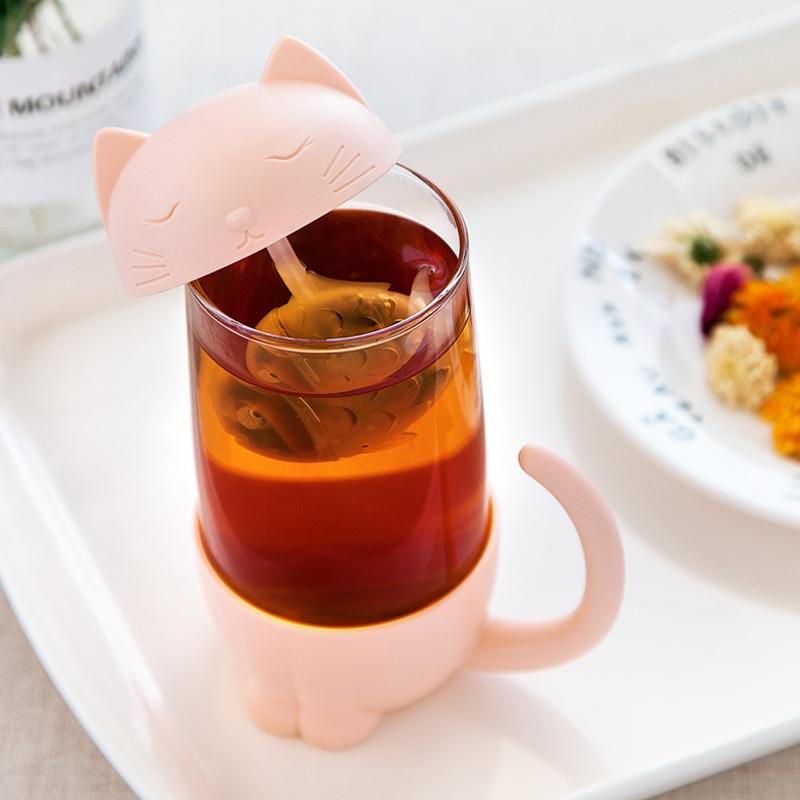 Kawaii Cat Glass Tea Mug – Limited Edition