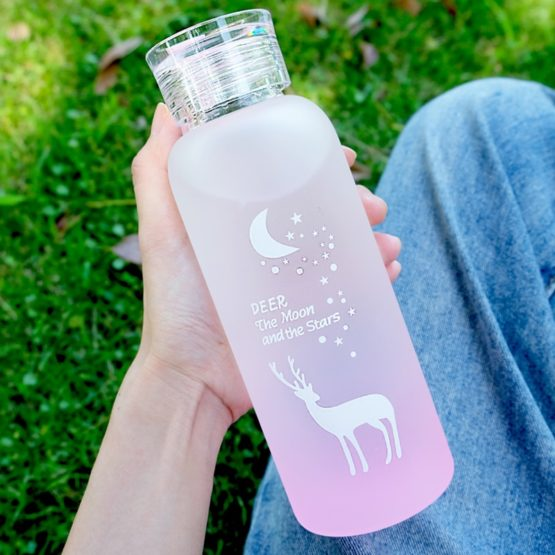 Kawaii Reindeer Frosted Glass Bottle (480ml)