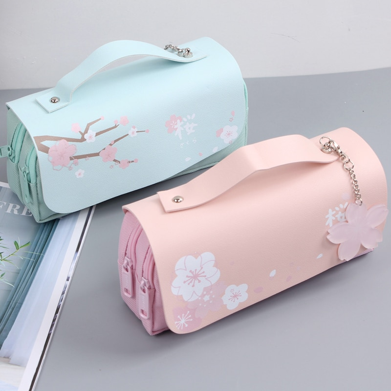 Kawaii Cherry Blossom Pastel Pencil Case – Limited Edition