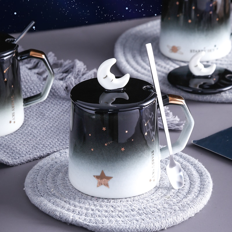 Kawaii Galaxy Moon Ceramic Cup – Limited Edition