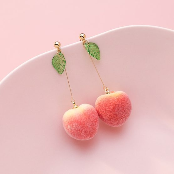 Kawaii Korean Style Peach Earrings – Limited Edition