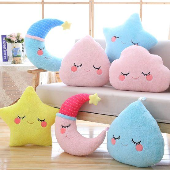 Kawaii Pastel Starry Cloud Moon Pillow Plush
