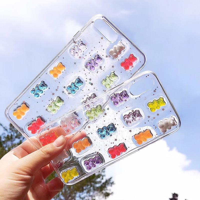 Kawaii Bear Glitter Phone Case