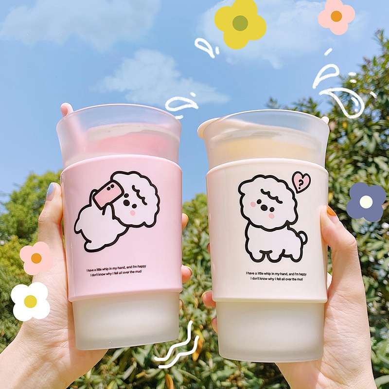 Kawaii Alpaca Frosted Glass Cup