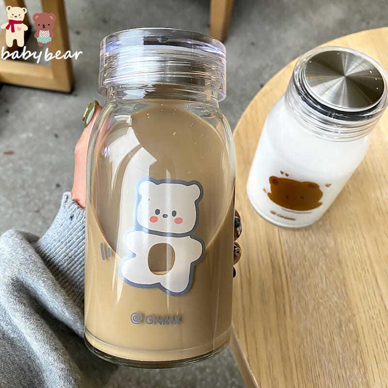 Kawaii Bear Glass Bottle (450ml) – Limited Edition