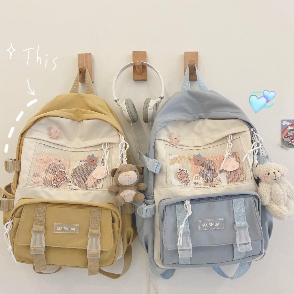 Kawaii Harajuku Style Canvas School Backpack