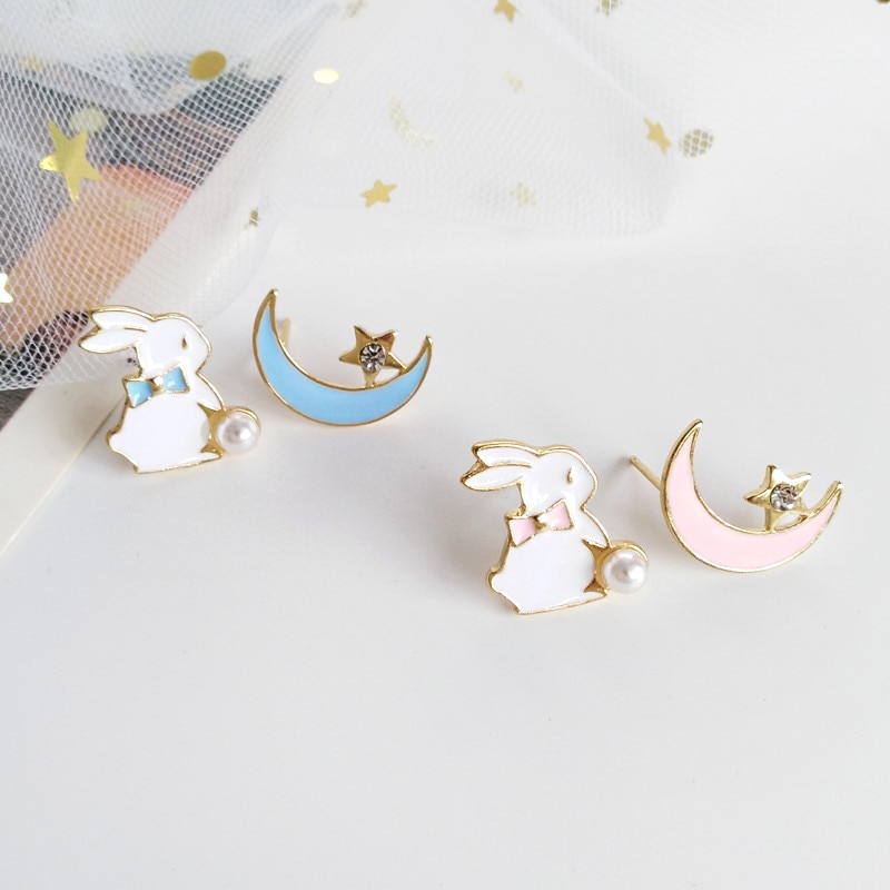 Kawaii Bunny Moon Fashion Stud Earrings