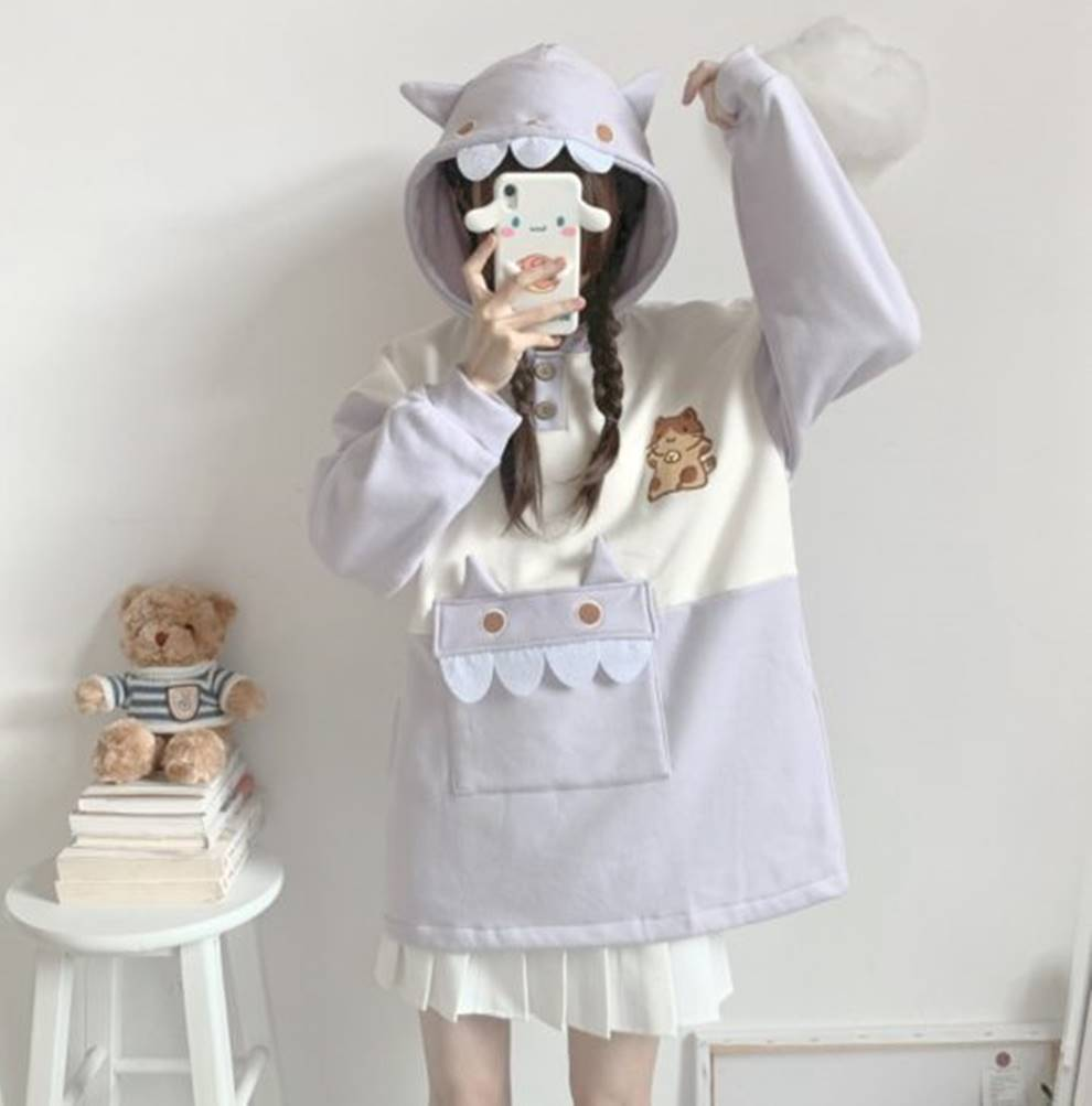 Kawaii Harajuku Dino Cat Hoodie – Special Edition