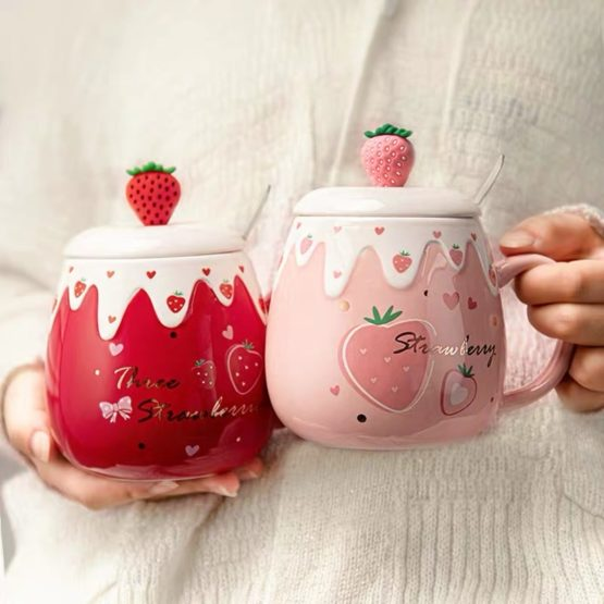 Kawaii Strawberry Ceramic Cup – Special Edition