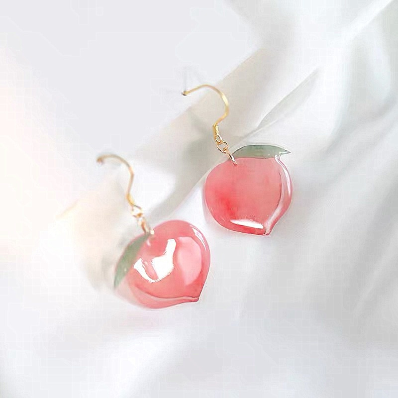 Kawaii Pink Peach Acrylic Earrings – Limited Edition