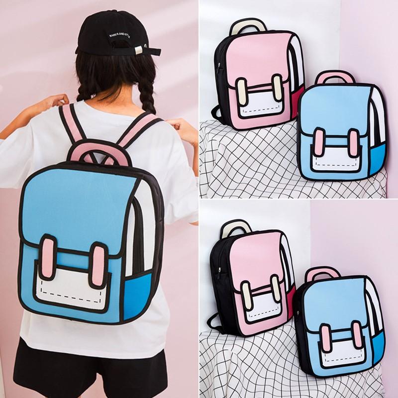 Kawaii Cartoon 3D Canvas Backpack – Limited Edition