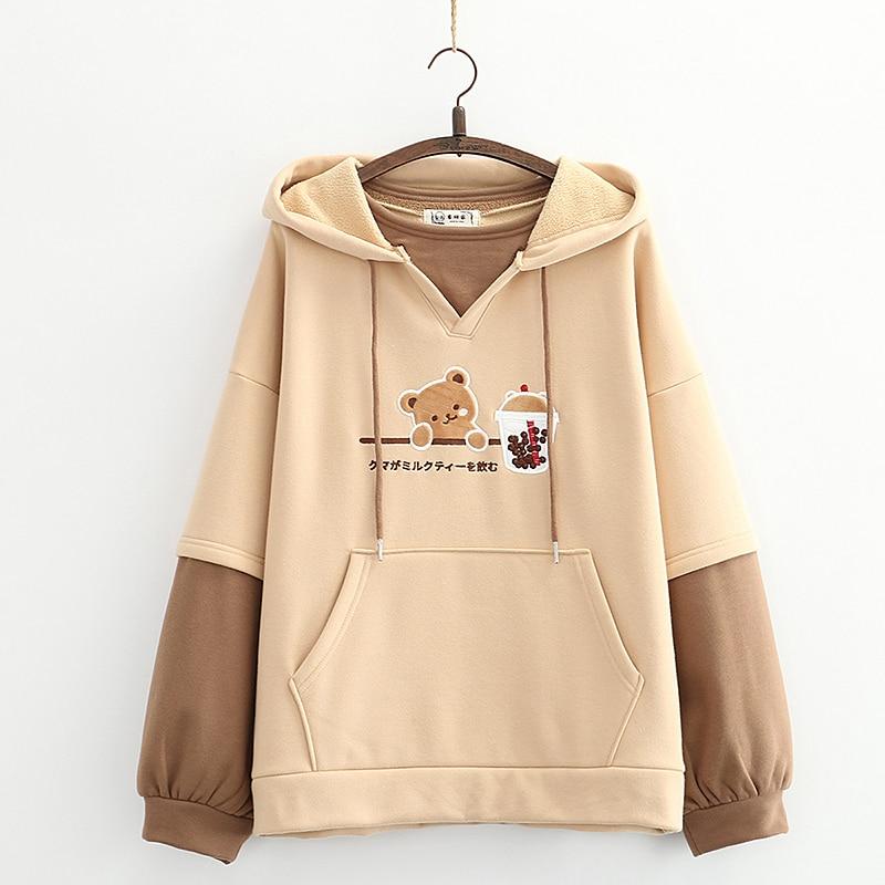 Kawaii Bear Bubble Tea Harajuku Hoodie – Special Edition
