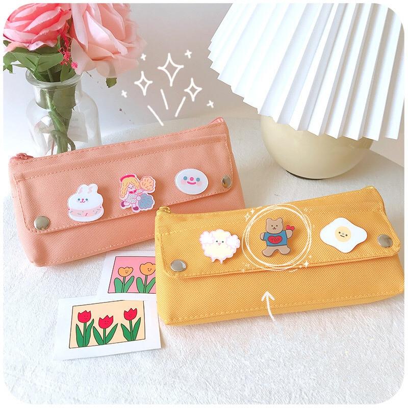 Kawaii Canvas Style Pastel Pencil Case
