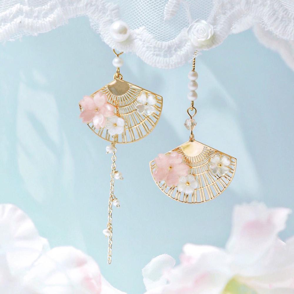 Kawaii Cherry Blossom Fan Earrings – Limited Edition