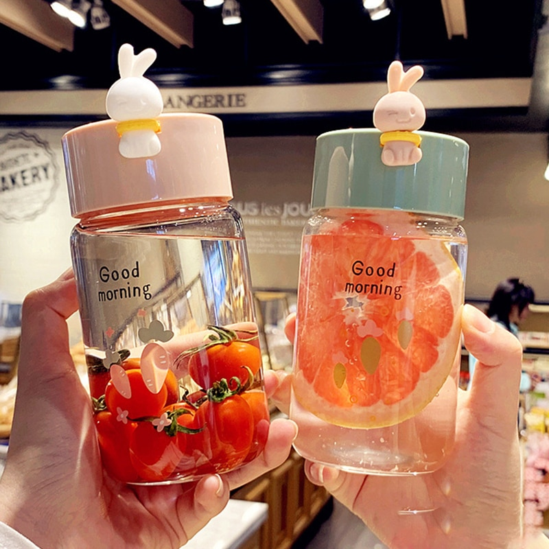 Kawaii Bunny Rabbit Glass Bottle (340ml)