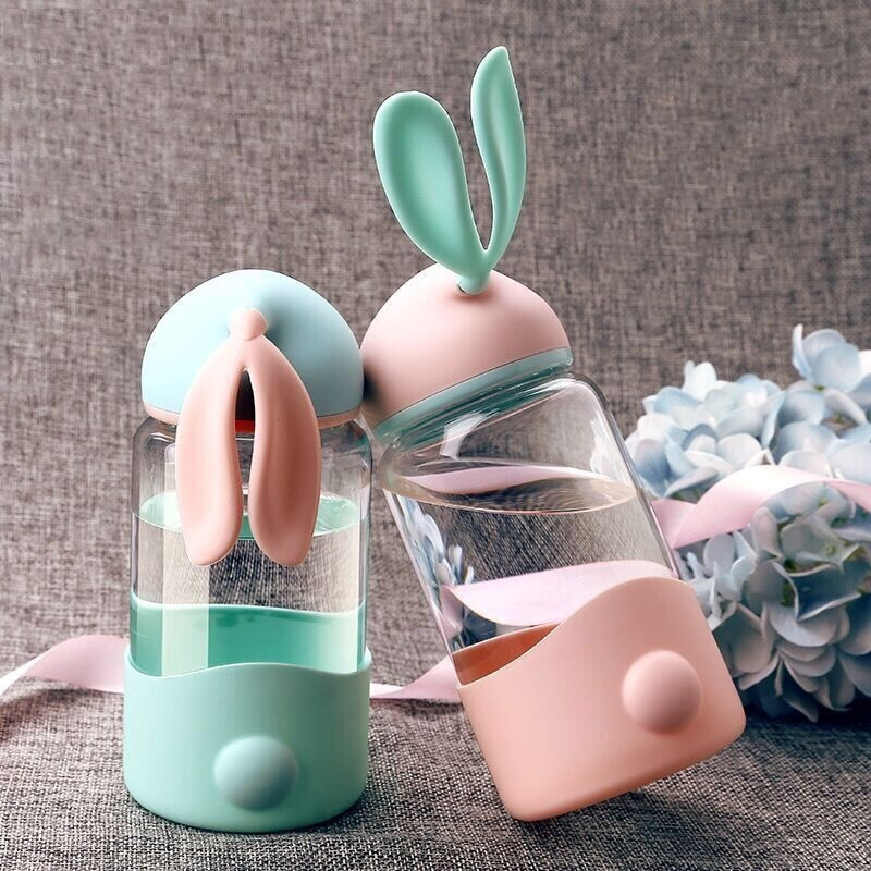 Kawaii Bunny Ears Glass Bottle (340ml)