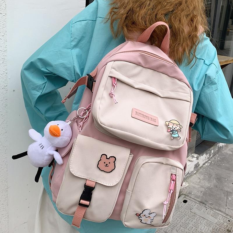 Kawaii Canvas Multipocket Harajuku Backpack