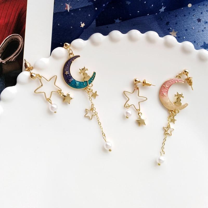 Kawaii Galaxy Moon Starry Earrings – Limited Edition