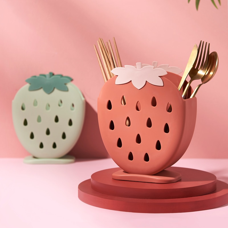 Kawaii Strawberry Utensil Holder – Limited Edition