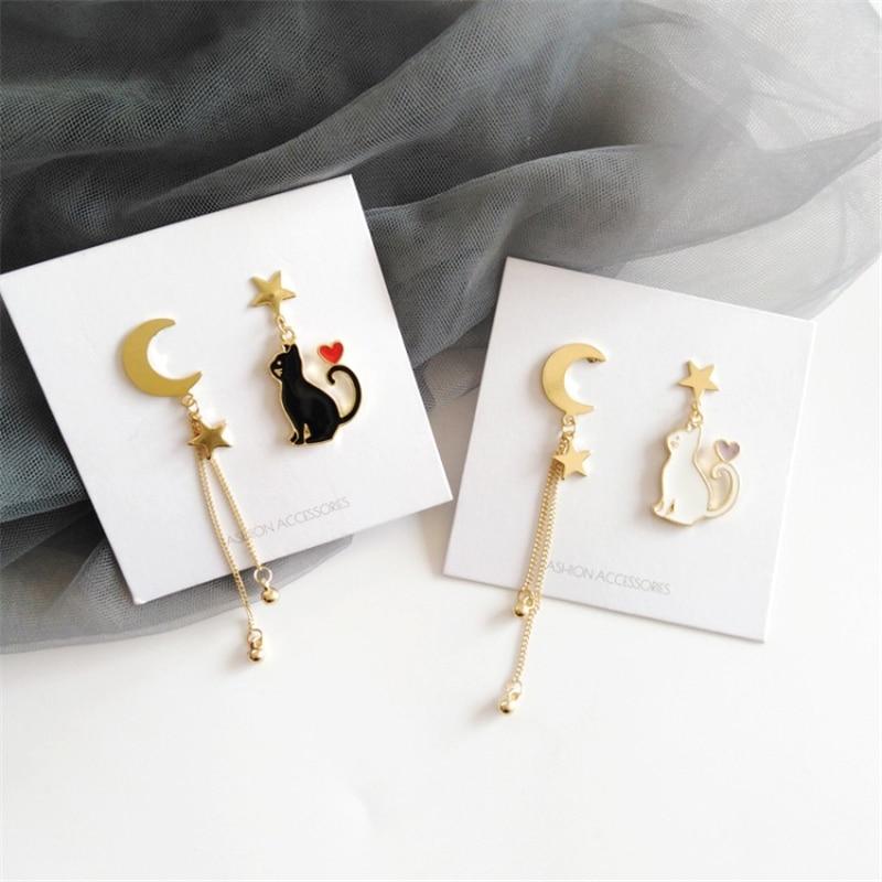 Kawaii Starry Cat Moon Earrings – Limited Edition