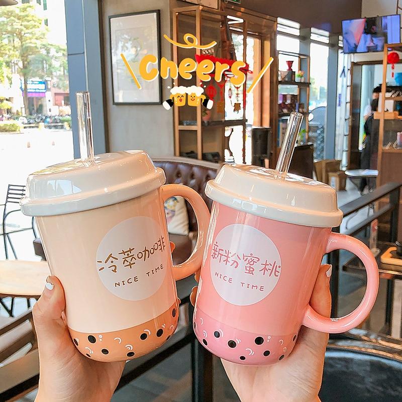Kawaii Bubble Tea Ceramic Glass Cup
